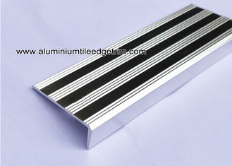Replaceable Aluminum Non Slip Stair Treads Anodized Shiny Silver